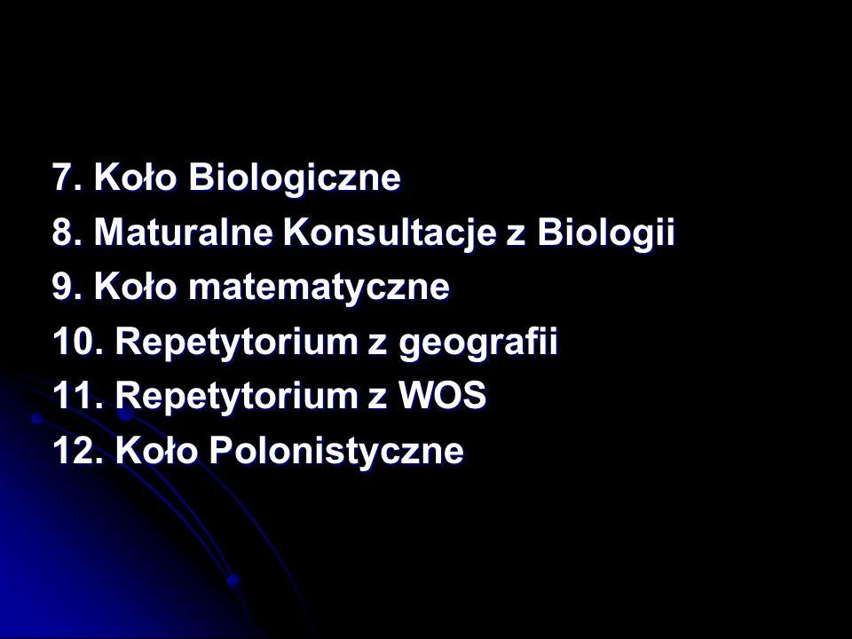 7. Koło Biologiczne 8. Maturalne Konsultacje z Biologii. 9. Koło matematyczne. 10. Repetytorium z geografii.