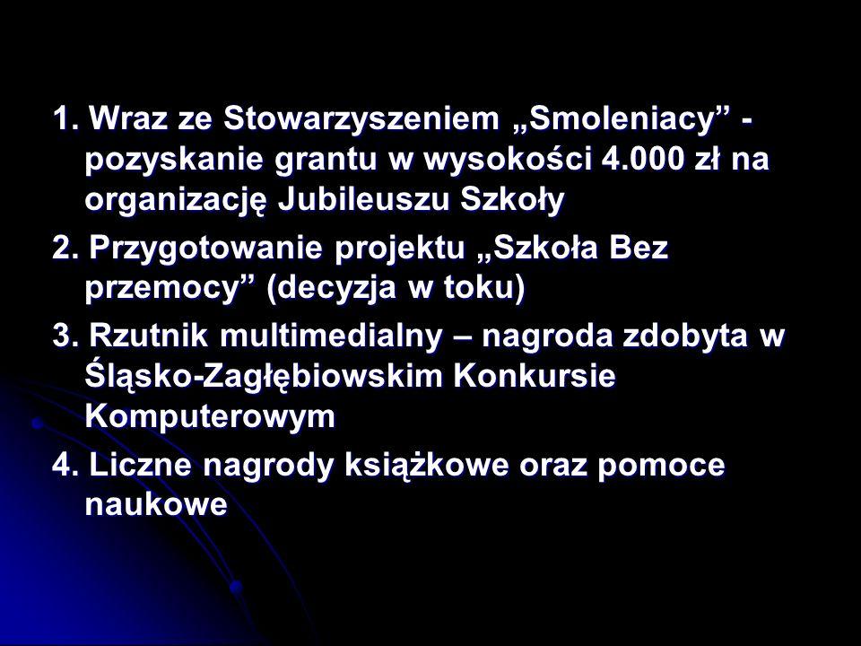 """1. Wraz ze Stowarzyszeniem """"Smoleniacy - pozyskanie grantu w wysokości 4.000 zł na organizację Jubileuszu Szkoły"""