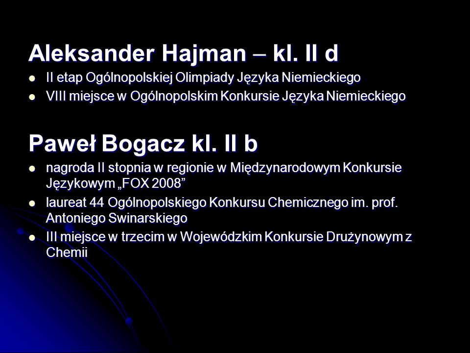 Aleksander Hajman – kl. II d
