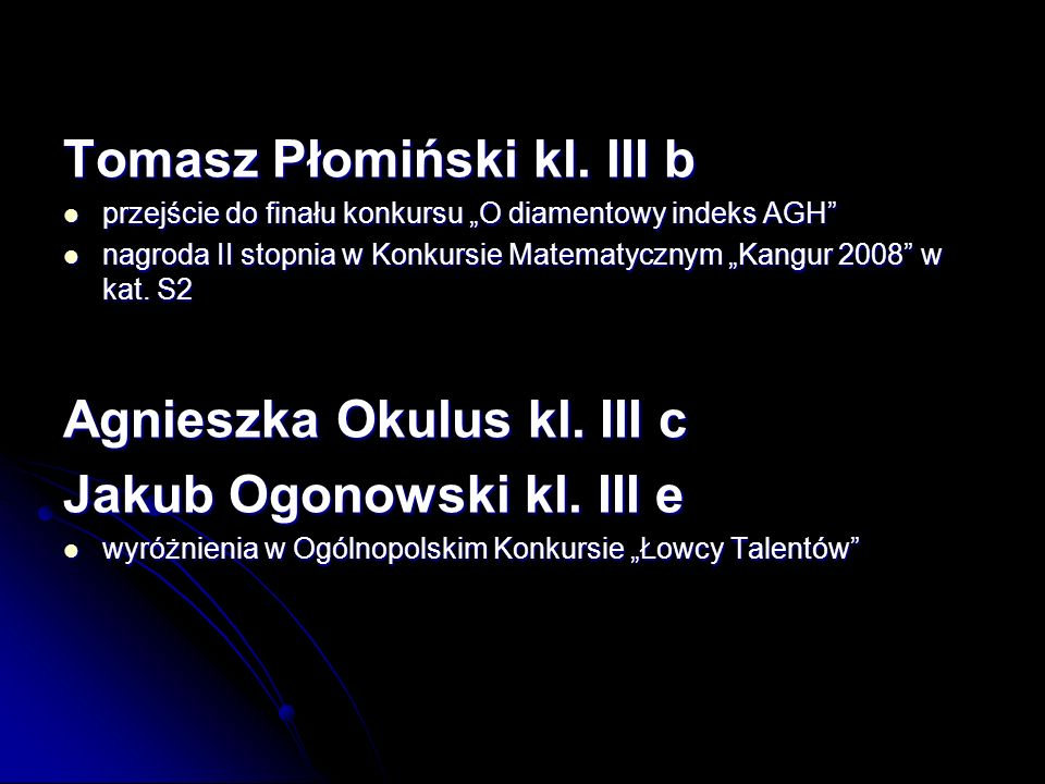 Tomasz Płomiński kl. III b