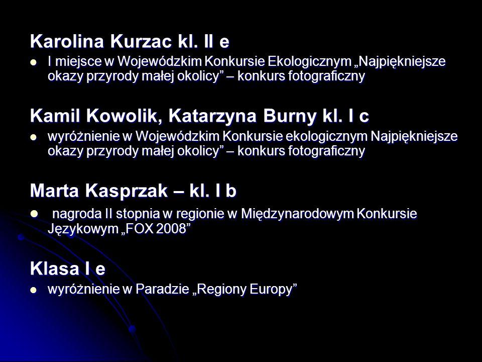 Kamil Kowolik, Katarzyna Burny kl. I c