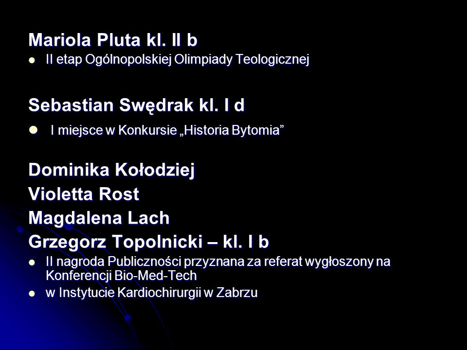"""Sebastian Swędrak kl. I d I miejsce w Konkursie """"Historia Bytomia"""