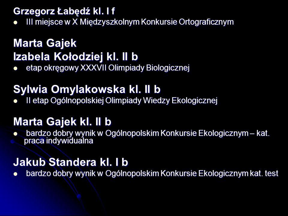 Izabela Kołodziej kl. II b Sylwia Omylakowska kl. II b