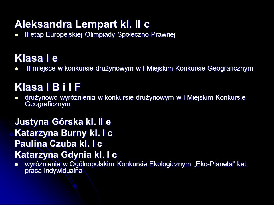 Aleksandra Lempart kl. II c Klasa I e Klasa I B i I F