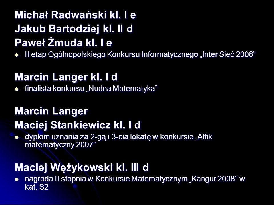 Jakub Bartodziej kl. II d Paweł Żmuda kl. I e