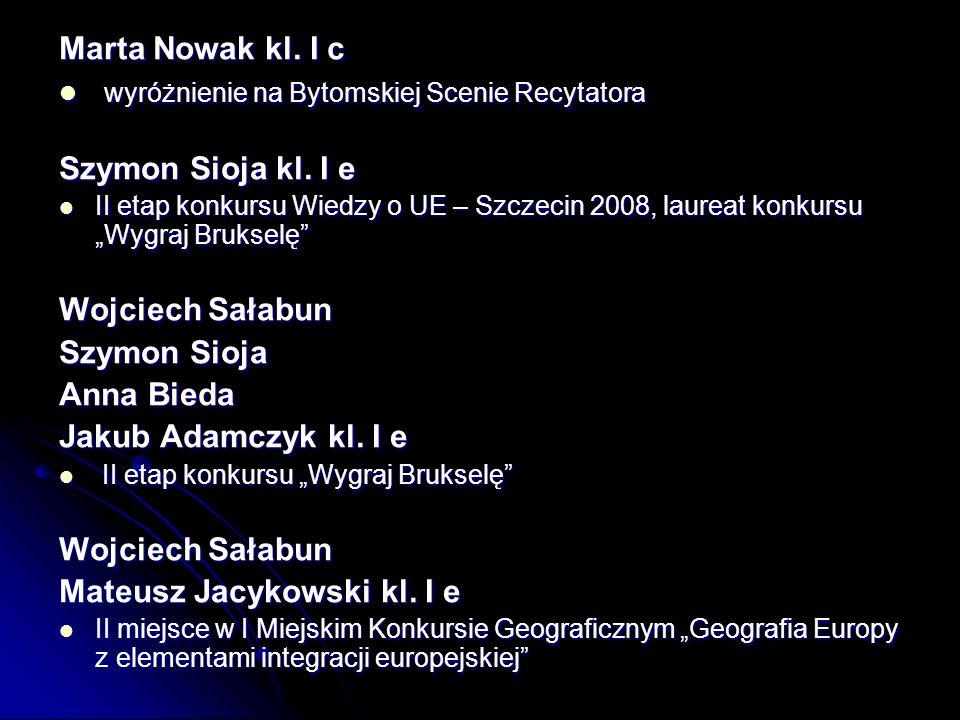 wyróżnienie na Bytomskiej Scenie Recytatora Szymon Sioja kl. I e