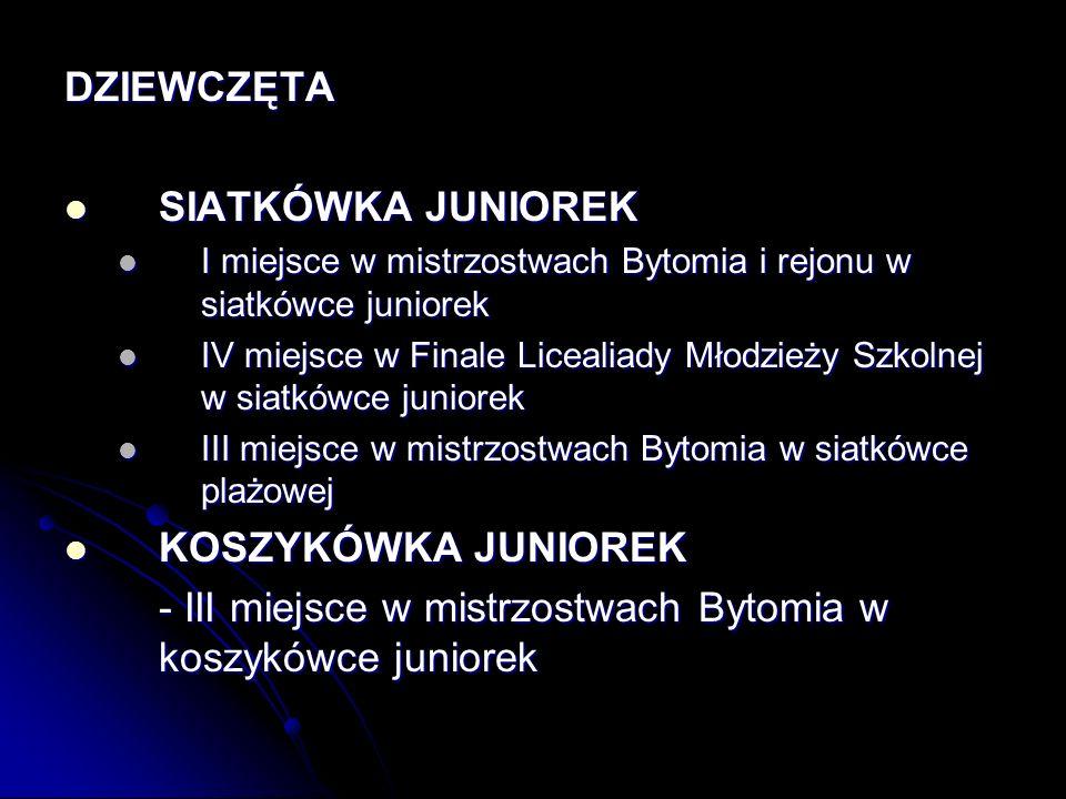 - III miejsce w mistrzostwach Bytomia w koszykówce juniorek