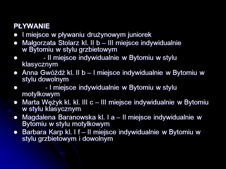 PŁYWANIE I miejsce w pływaniu drużynowym juniorek. Małgorzata Stolarz kl. II b – III miejsce indywidualnie w Bytomiu w stylu grzbietowym.