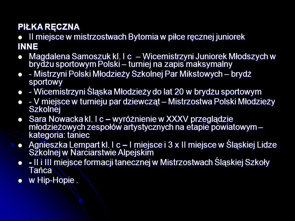 PIŁKA RĘCZNA II miejsce w mistrzostwach Bytomia w piłce ręcznej juniorek. INNE.