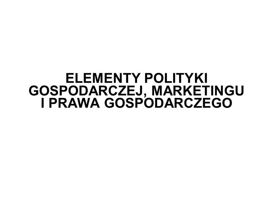 ELEMENTY POLITYKI GOSPODARCZEJ, MARKETINGU I PRAWA GOSPODARCZEGO