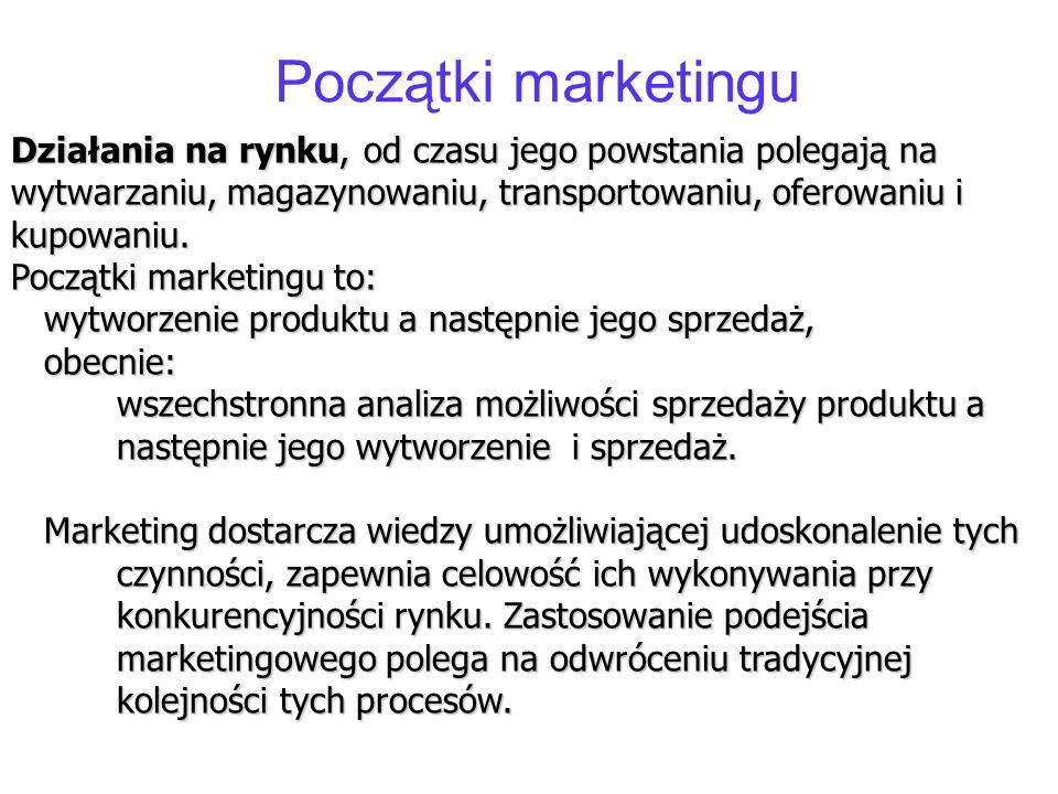 Początki marketingu Działania na rynku, od czasu jego powstania polegają na wytwarzaniu, magazynowaniu, transportowaniu, oferowaniu i kupowaniu.