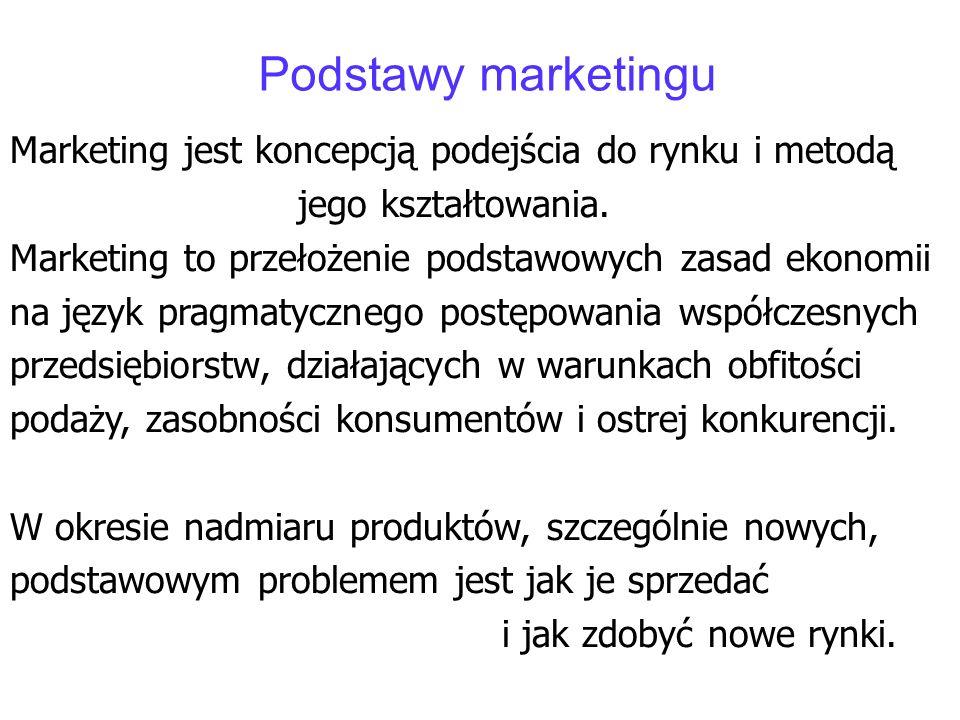 Podstawy marketingu Marketing jest koncepcją podejścia do rynku i metodą. jego kształtowania. Marketing to przełożenie podstawowych zasad ekonomii.