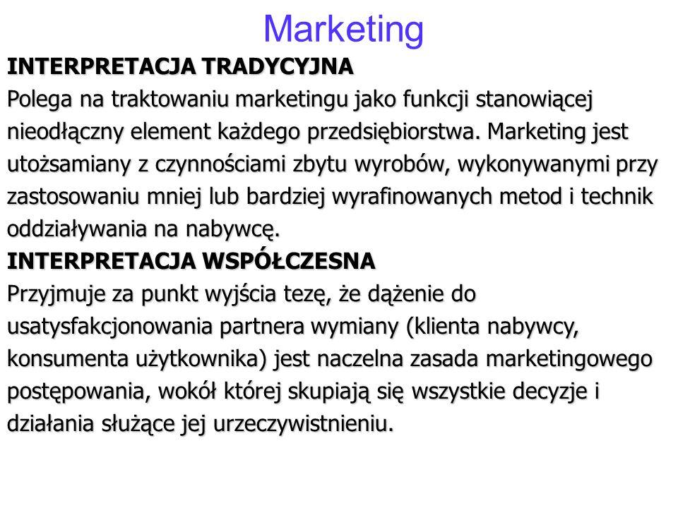 Marketing INTERPRETACJA TRADYCYJNA