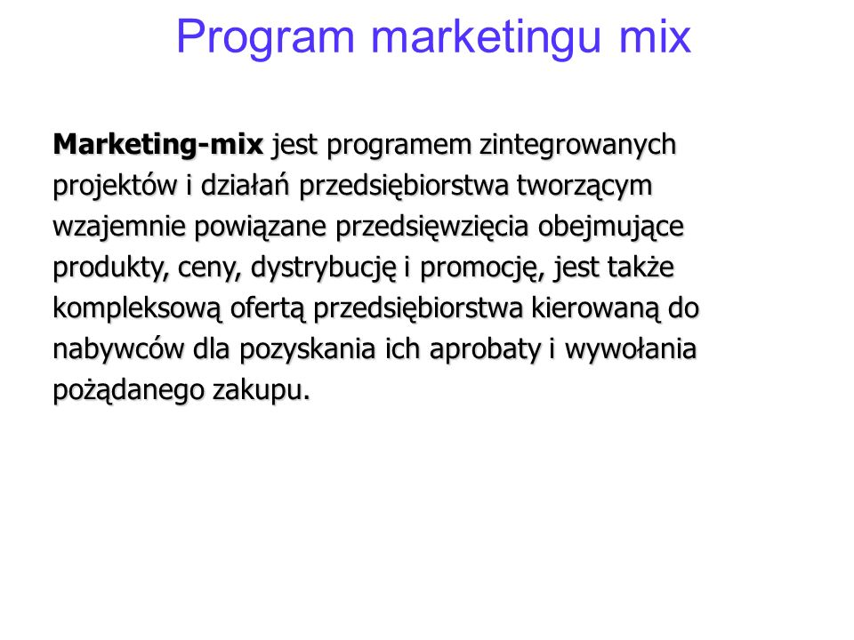 Program marketingu mix