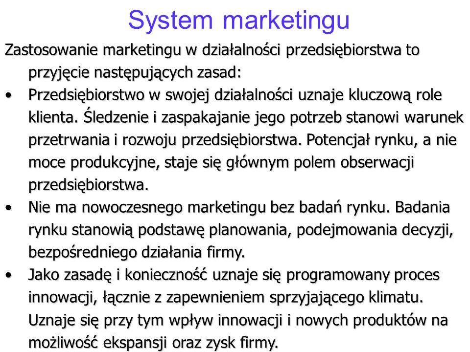 System marketingu Zastosowanie marketingu w działalności przedsiębiorstwa to przyjęcie następujących zasad: