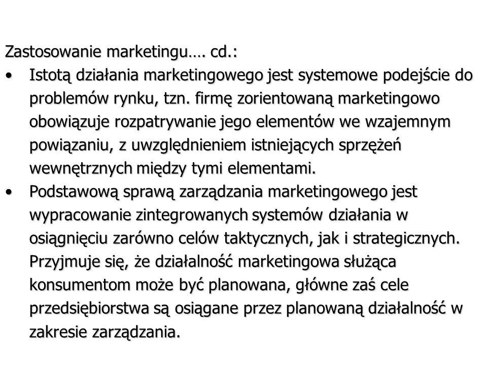 Zastosowanie marketingu…. cd.: