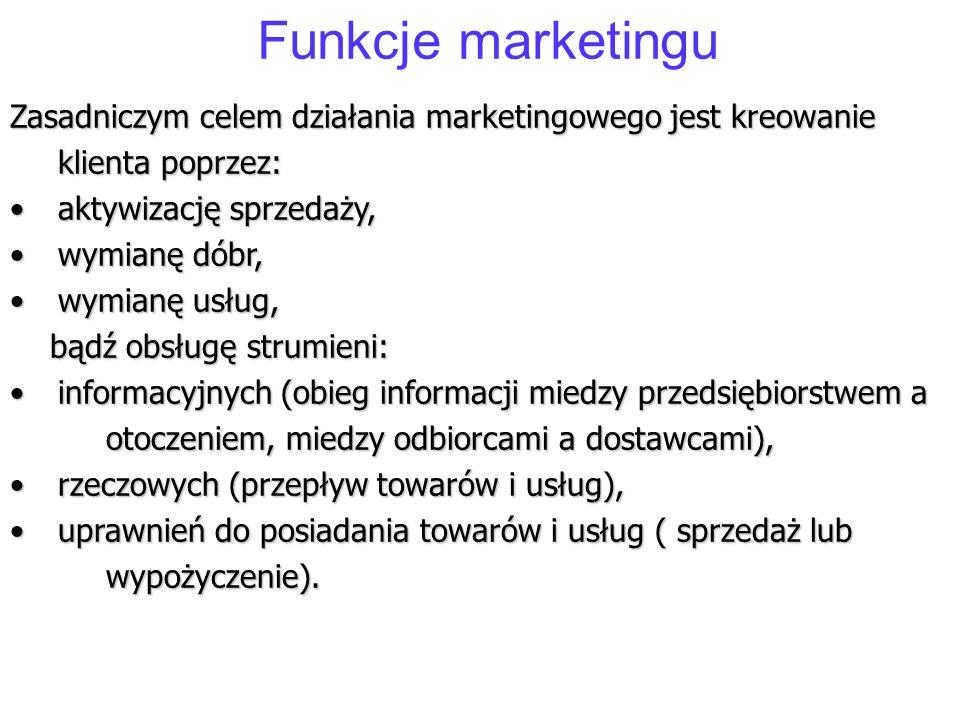 Funkcje marketingu Zasadniczym celem działania marketingowego jest kreowanie klienta poprzez: aktywizację sprzedaży,