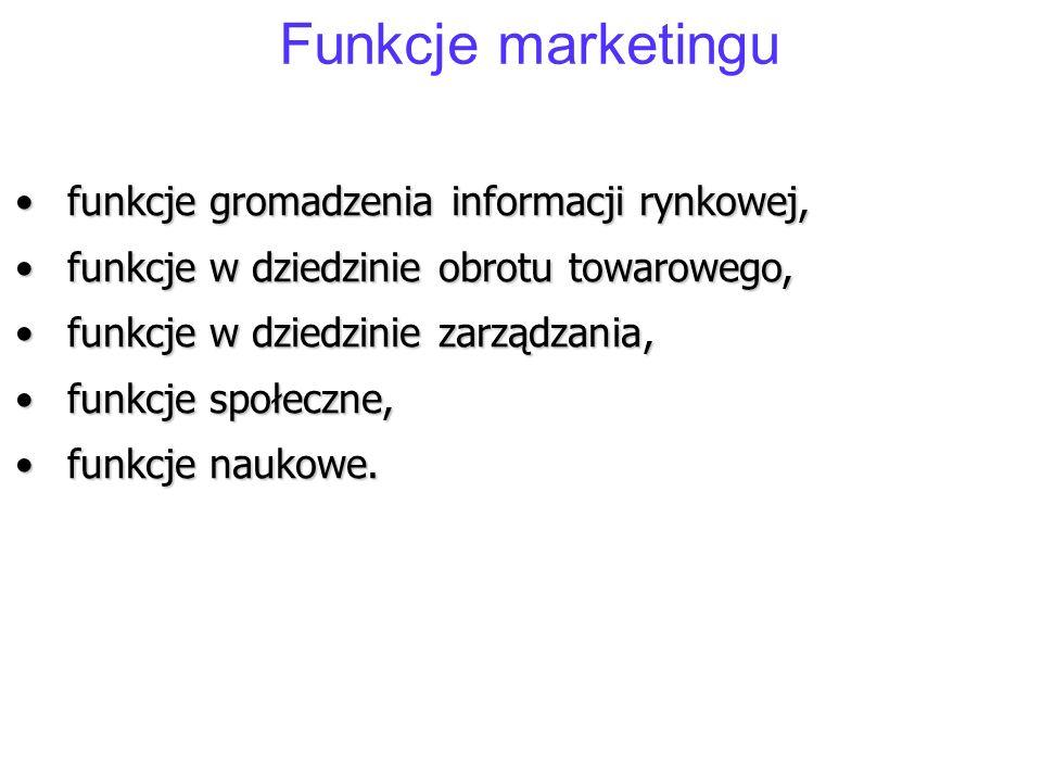 Funkcje marketingu funkcje gromadzenia informacji rynkowej,