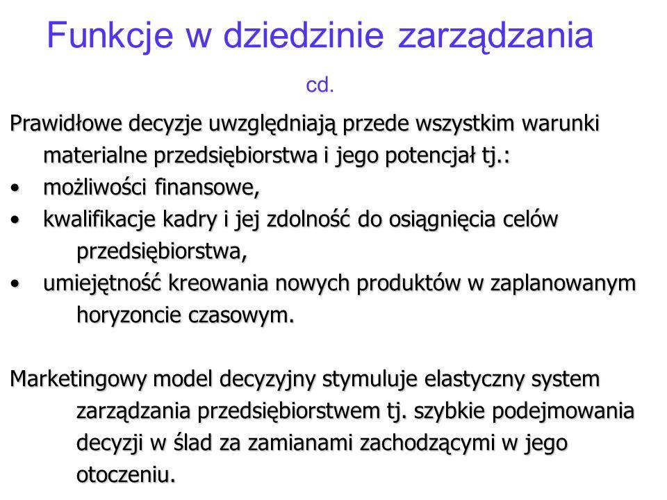 Funkcje w dziedzinie zarządzania cd.