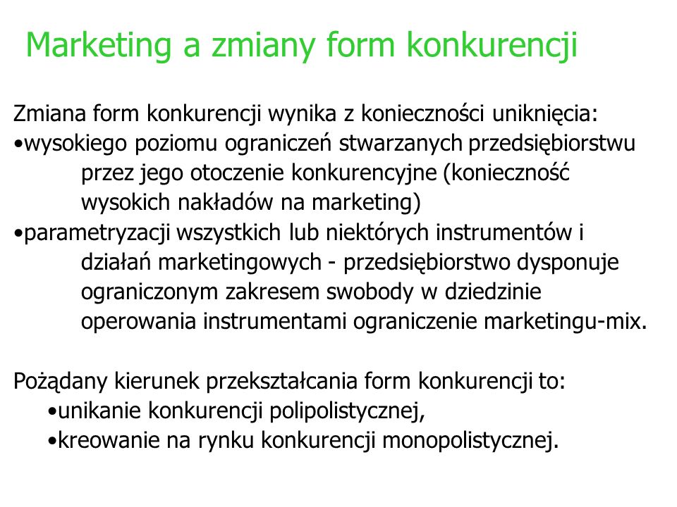 Marketing a zmiany form konkurencji