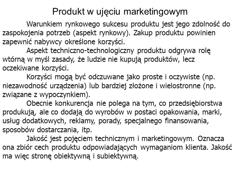 Produkt w ujęciu marketingowym