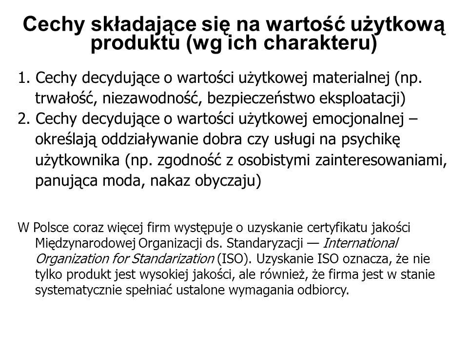 Cechy składające się na wartość użytkową produktu (wg ich charakteru)