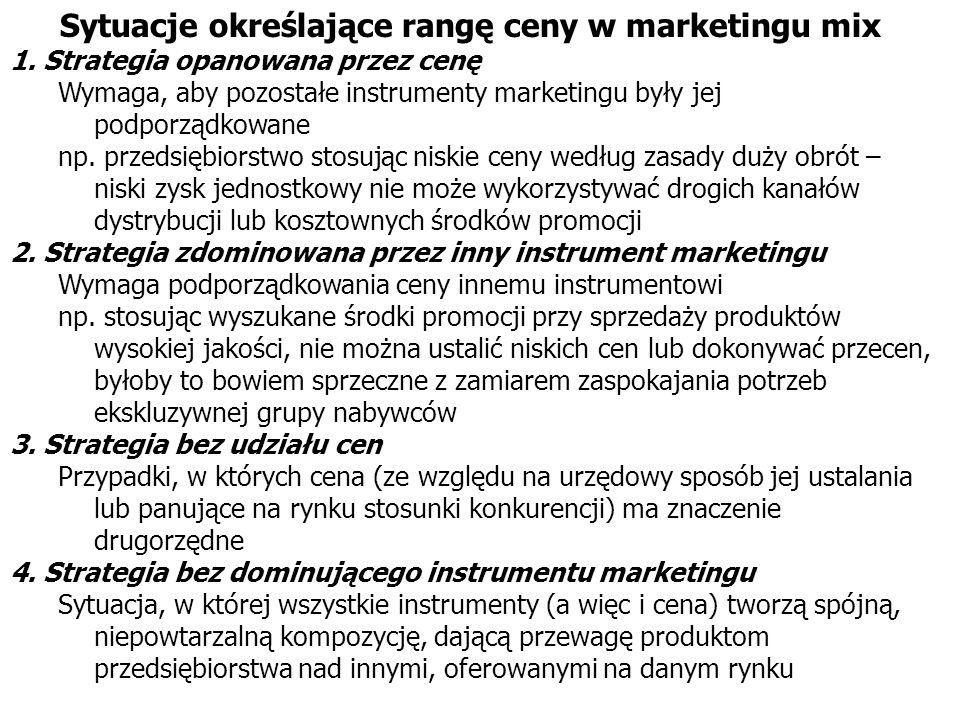 Sytuacje określające rangę ceny w marketingu mix