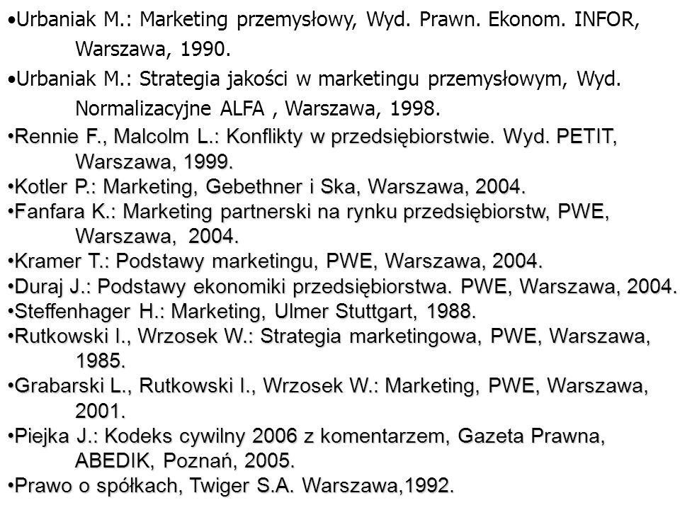 Urbaniak M. : Marketing przemysłowy, Wyd. Prawn. Ekonom. INFOR,