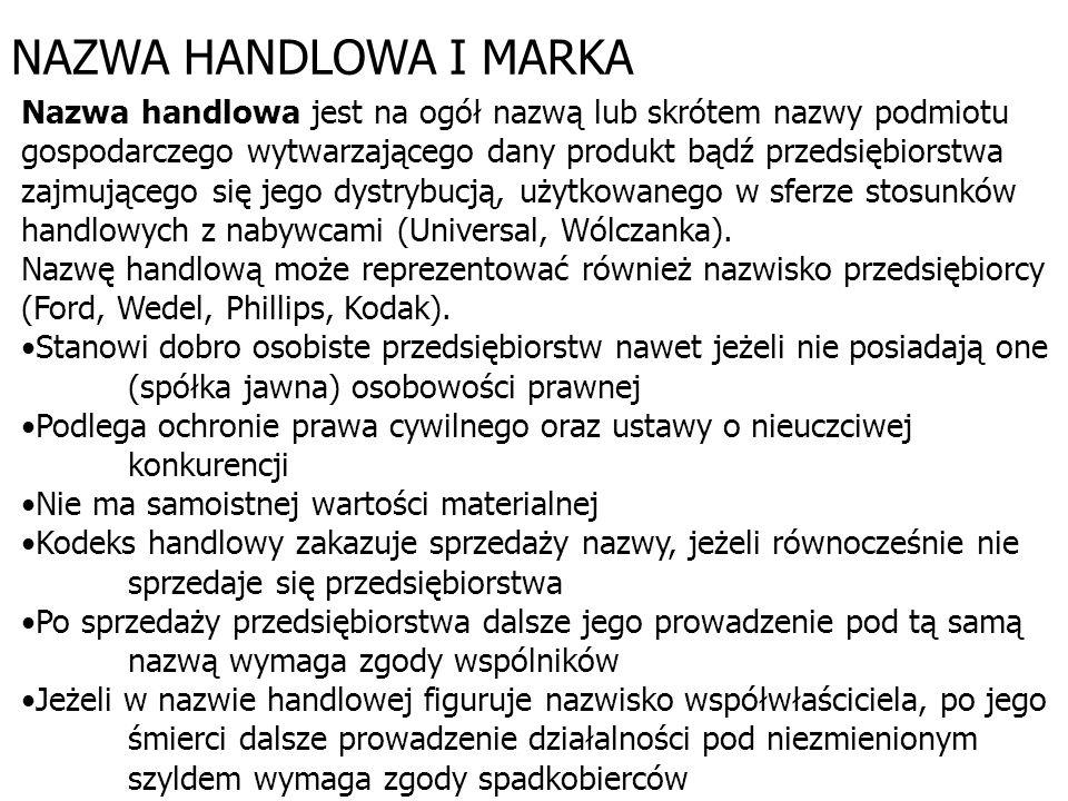 NAZWA HANDLOWA I MARKA