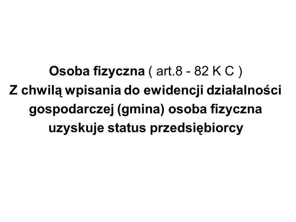 Osoba fizyczna ( art.8 - 82 K C )