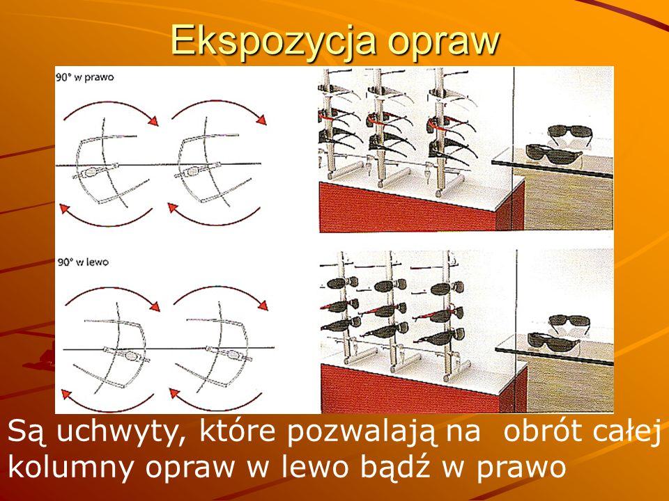 Ekspozycja opraw Są uchwyty, które pozwalają na obrót całej kolumny opraw w lewo bądź w prawo