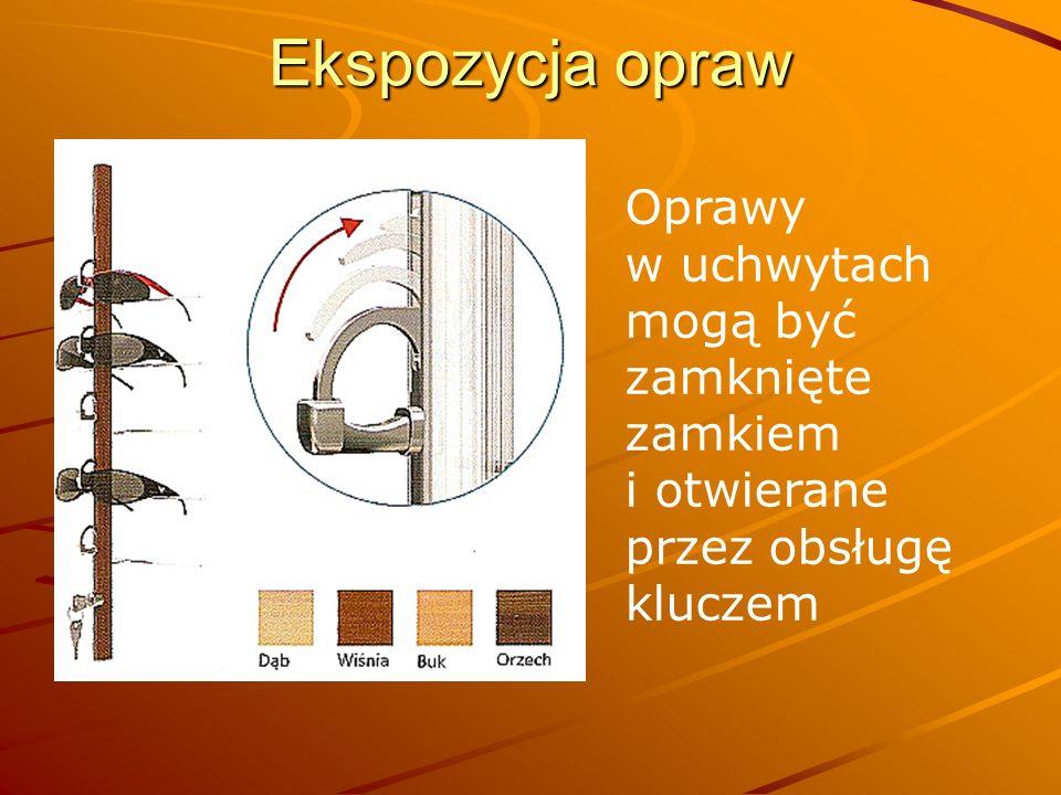 Ekspozycja opraw Oprawy w uchwytach mogą być zamknięte zamkiem i otwierane przez obsługę kluczem