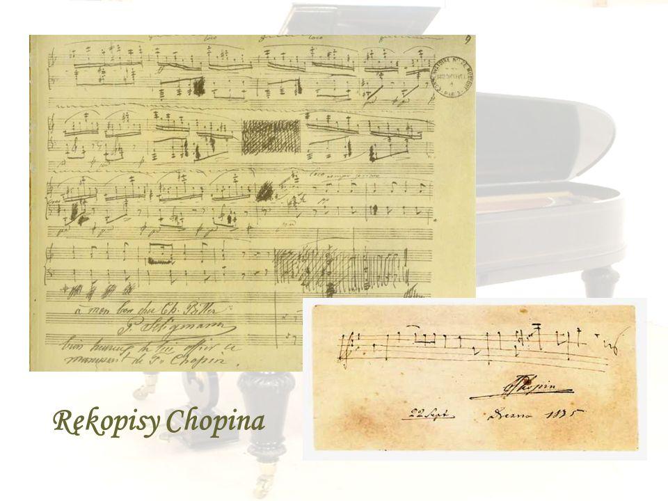 Fryderyk Chopin był niezrównanym mistrzem ekspresji , '' poetą dźwięku '', osiągającym w sztuce gry wyżyny dostępne tylko największym geniuszom. Nowatorstwo twórcze , niezwykły nadprzyrodzony dar improwizacji łączył z doskonałym warsztatem kompozytorskim. , nieustannie poszukując złotego środka łączącego emocjonalne treści z doskonałością klasycznej formy , o precyzyjnej logicznej konstrukcji. Był niedoścignionym mistrzem melodii. Chopin był przede wszystkim pianistą jego działalność muzyczna ograniczyła się tylko do fortepianu.