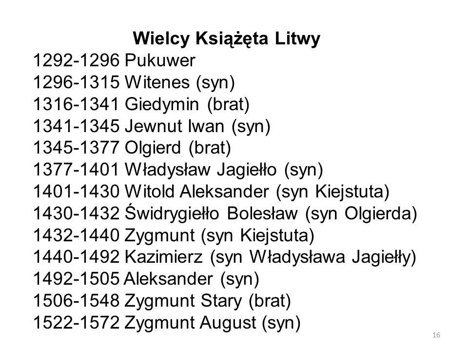 Wielcy Książęta Litwy 1292-1296 Pukuwer. 1296-1315 Witenes (syn) 1316-1341 Giedymin (brat) 1341-1345 Jewnut Iwan (syn)