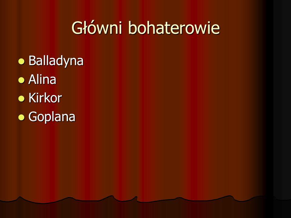 Główni bohaterowie Balladyna Alina Kirkor Goplana
