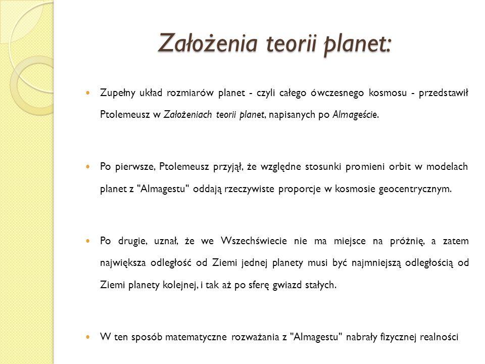 Założenia teorii planet: