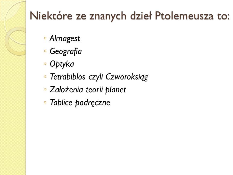 Niektóre ze znanych dzieł Ptolemeusza to:
