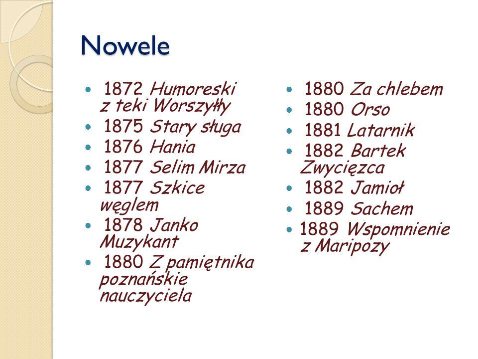 Nowele 1872 Humoreski z teki Worszyłły 1875 Stary sługa 1876 Hania