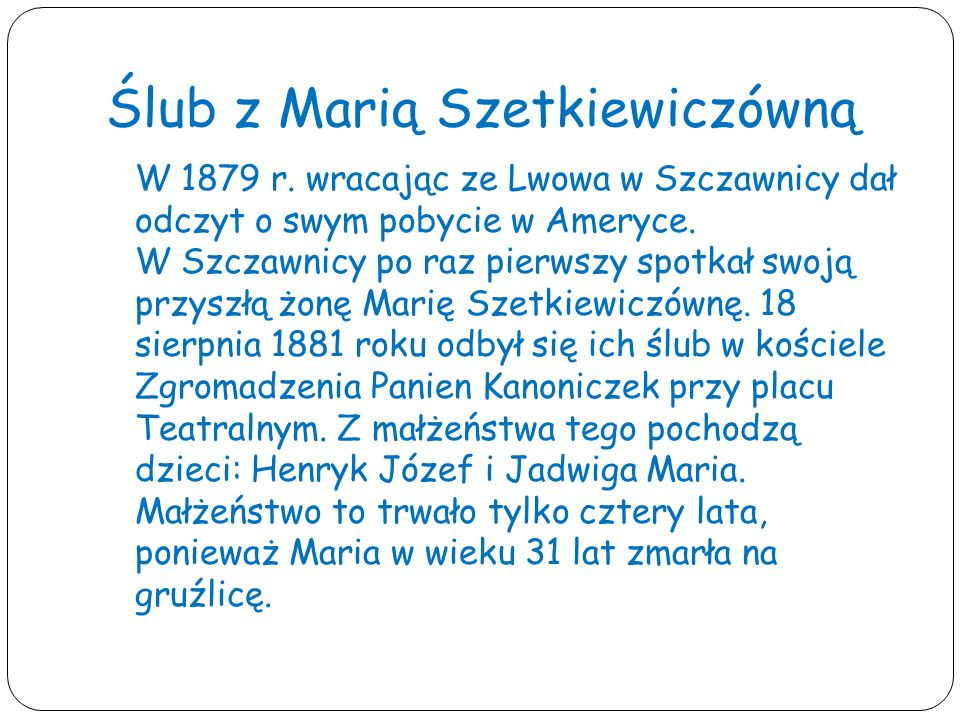 Ślub z Marią Szetkiewiczówną