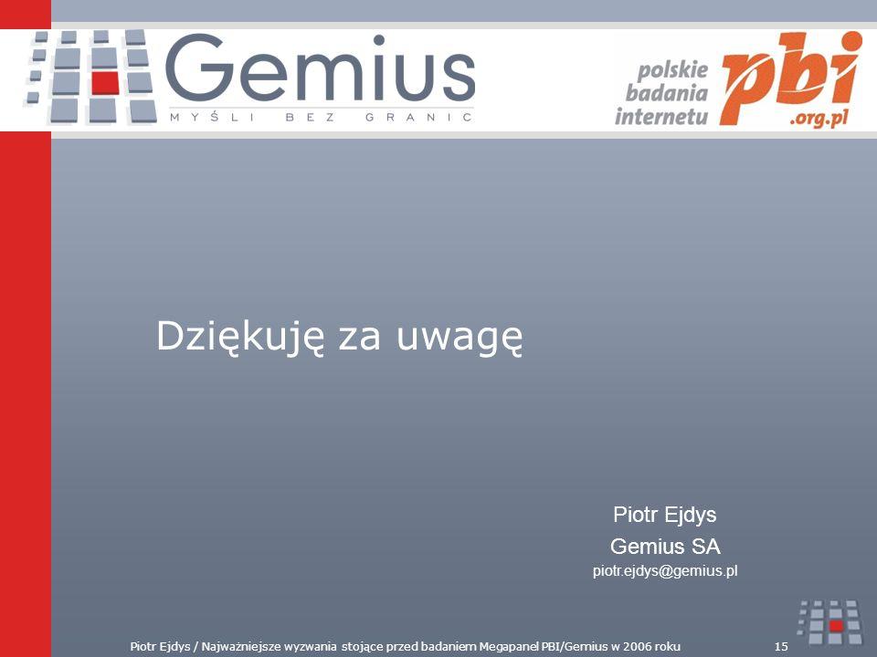 Dziękuję za uwagę Piotr Ejdys Gemius SA piotr.ejdys@gemius.pl