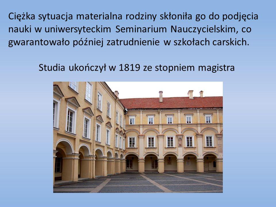 Studia ukończył w 1819 ze stopniem magistra