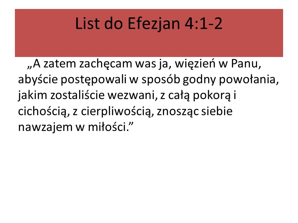 List do Efezjan 4:1-2