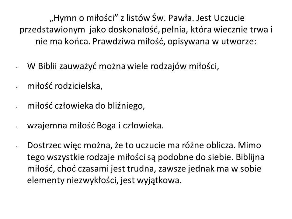 """""""Hymn o miłości z listów Św. Pawła"""