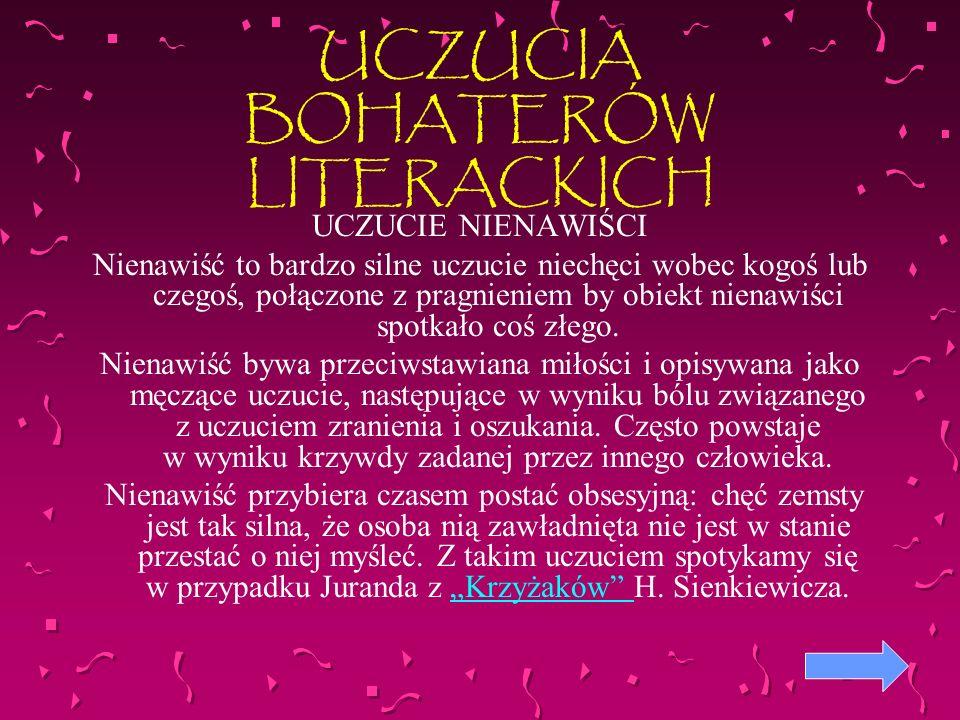 UCZUCIA BOHATERÓW LITERACKICH
