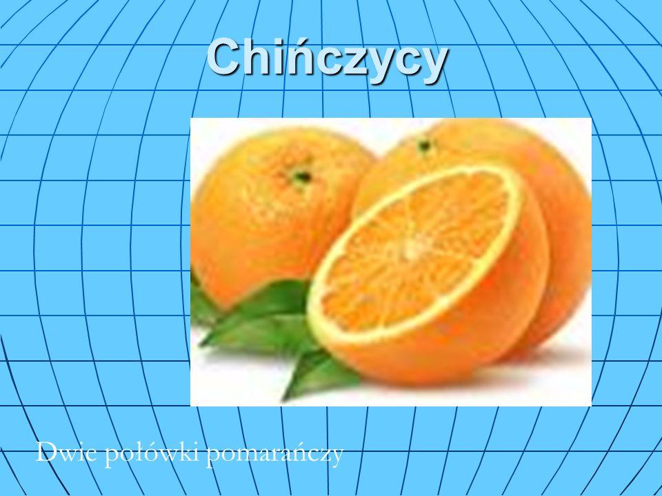 Chińczycy Nakłuwane pomarańcze Dwie połówki pomarańczy