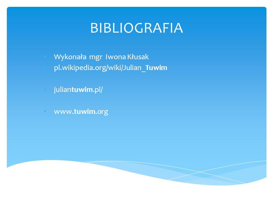 BIBLIOGRAFIA Wykonała mgr Iwona Kłusak