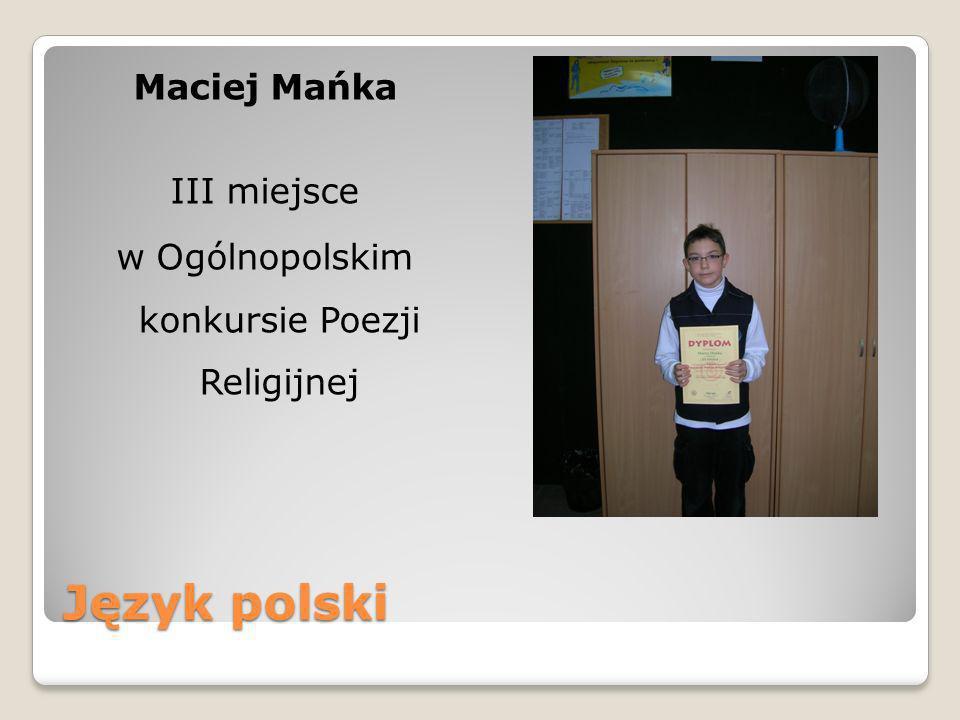 Maciej Mańka III miejsce w Ogólnopolskim konkursie Poezji Religijnej
