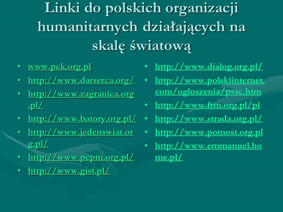 Linki do polskich organizacji humanitarnych działających na skalę światową