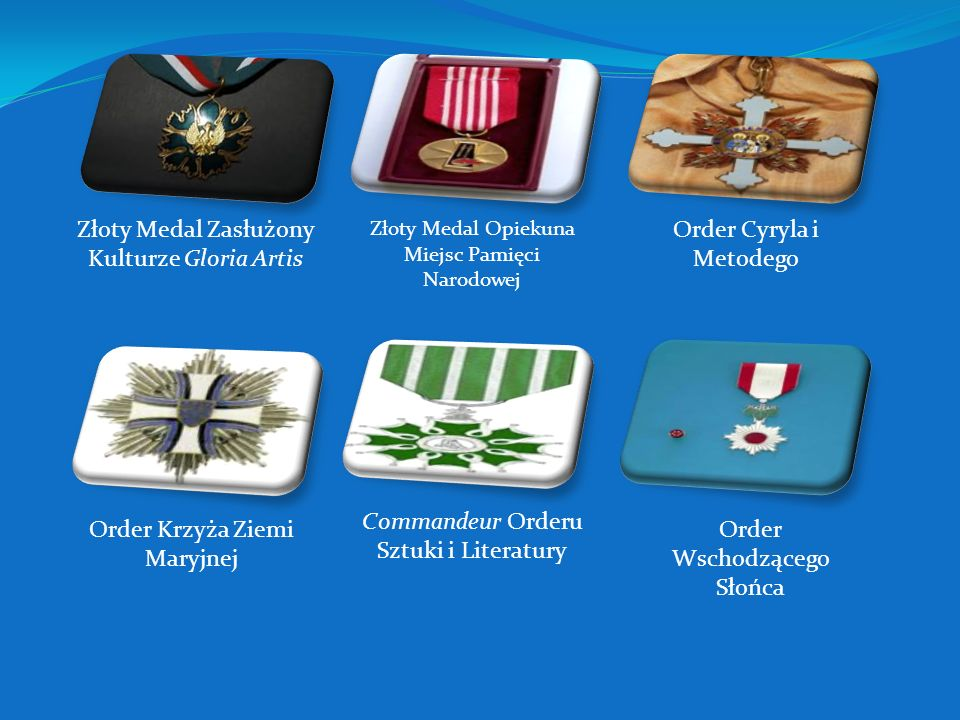 Złoty Medal Zasłużony Kulturze Gloria Artis Order Cyryla i Metodego
