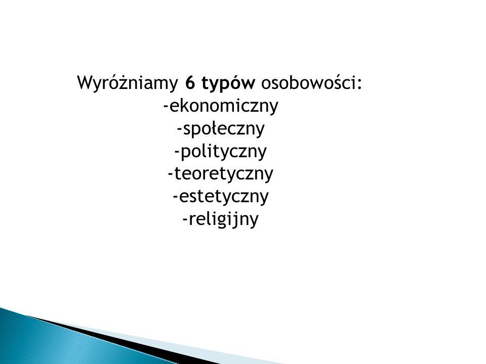 Wyróżniamy 6 typów osobowości: